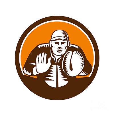 Baseball Catcher Gloves Circle Woodcut Print by Aloysius Patrimonio