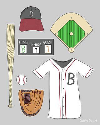 Baseball Art Drawing - Play Ball by Christina Steward