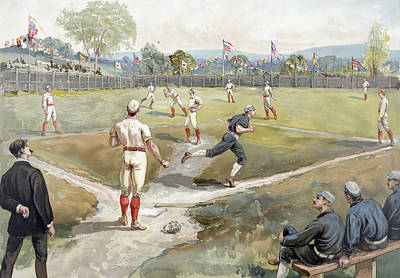 Old Pitcher Painting - Baseball Game by Unknown