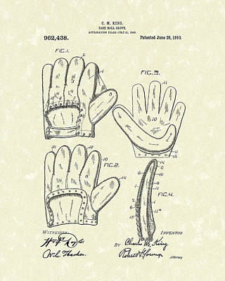 Glove Drawing - Baseball Glove 1910 Patent Art by Prior Art Design