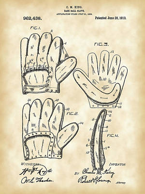 Baseball Glove Patent 1909 - Vintage Print by Stephen Younts