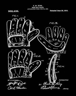 Baseball Photograph - Baseball Glove Patent 1910 In Black by Bill Cannon