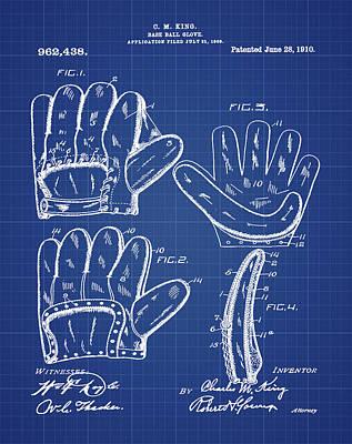 Baseball Photograph - Baseball Glove Patent 1910 In Blueprint by Digital Reproductions