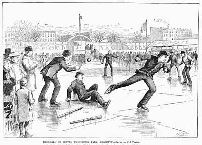 Baseball On Ice, 1884 Print by Granger