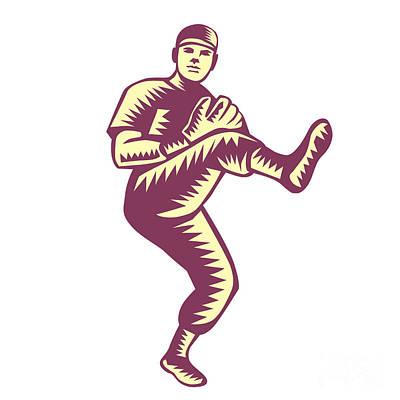 Baseball Pitcher Throwing Ball Woodcut Print by Aloysius Patrimonio