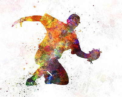 Baseball Painting - Baseball Player Catching A Ball by Pablo Romero