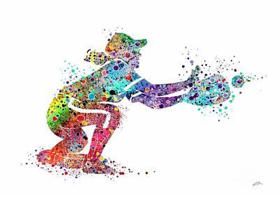 Baseball Art Digital Art - Baseball Softball Catcher 2 Sports Art Print by Svetla Tancheva
