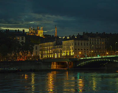Basilica Notre Dame De Fourviere From Across The Rhone River Print by Allen Sheffield