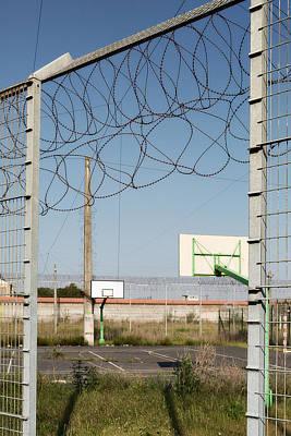 Basket Ball Playground At Abandoned Prison Print by Dirk Ercken