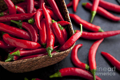 Basket Of Chilies Print by Charlotte Lake