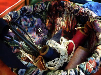 Tapestry Photograph - Basket Of Crocheting And Thread by Susan Savad
