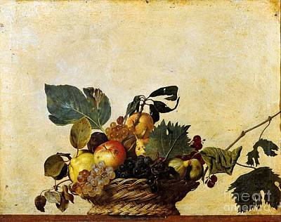 1596 Painting - Basket Of Fruit by Celestial Images