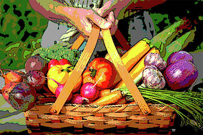 Asparagus Mixed Media - Basket Of Fruits And Vegetables by Charles Shoup