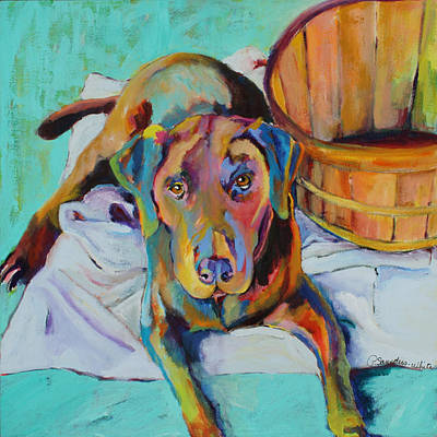 Chocolate Lab Painting - Basket Retriever by Pat Saunders-White