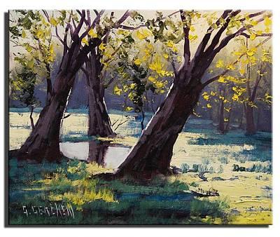 Autumn Landscape Painting - Basket Willows  Australia by Graham Gercken