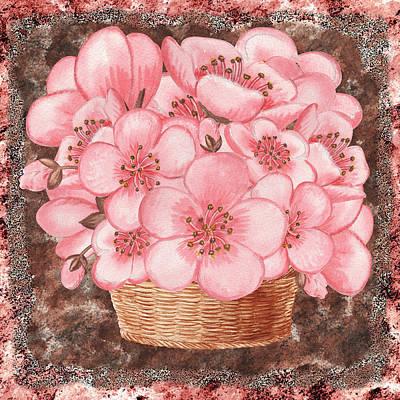 Watercolor Painting - Basket With Pink Flowers by Irina Sztukowski