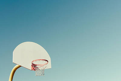 Basketball Hoop With Blue Sky Print by Erin Cadigan