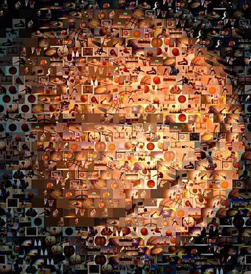 Basketball Digital Art - Basketball Mosaic by Paul Van Scott