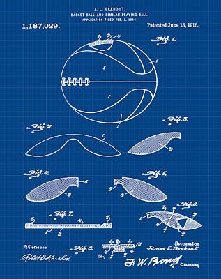 1916 Digital Art - Basketball Patent 1916 Blue Print by Bill Cannon