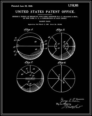 Basketball Digital Art - Basketball Patent - Black by Finlay McNevin