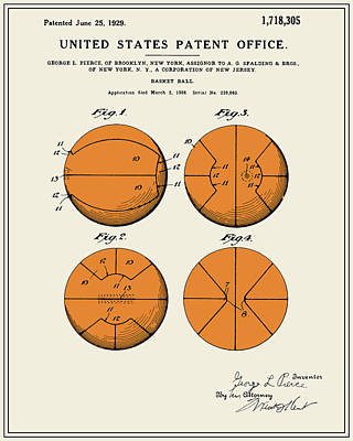 Basketball Digital Art - Basketball Patent - Colour by Finlay McNevin