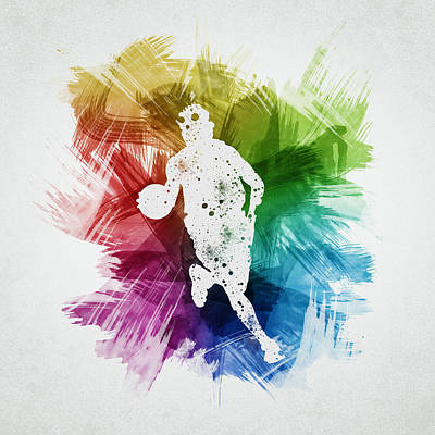 Balls Drawing - Basketball Player Art 02 by Aged Pixel