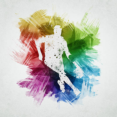 Sports Drawing - Basketball Player Art 15 by Aged Pixel