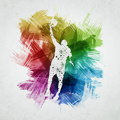 Basketball Player Art 19 Print by Aged Pixel