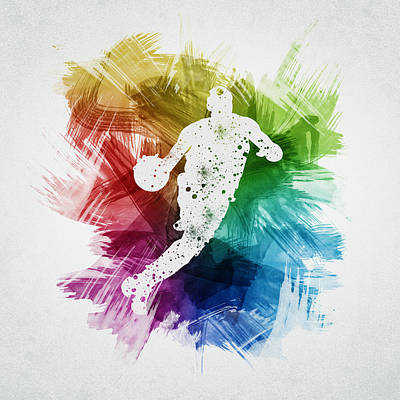 Basketball Player Art 20 Print by Aged Pixel