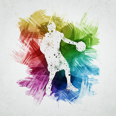 Basketball Player Art 21 Print by Aged Pixel