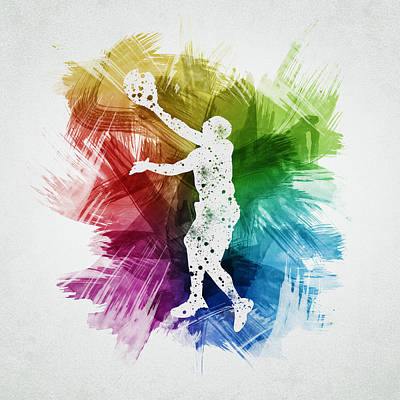 Sports Drawing - Basketball Player Art 23 by Aged Pixel
