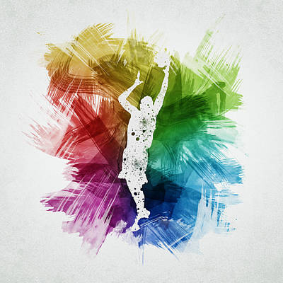 Basketball Player Art 24 Print by Aged Pixel