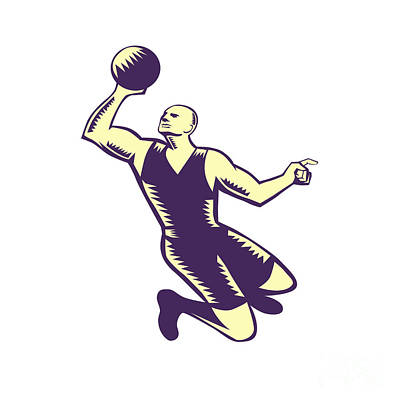 Basketball Player Dunk Ball Woodcut Print by Aloysius Patrimonio
