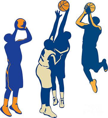 Basketball Player Shoot Ball Retro Collection Print by Aloysius Patrimonio