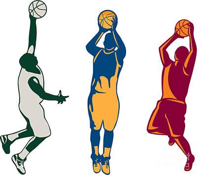 Basketball Player Shooting Retro Collection Print by Aloysius Patrimonio
