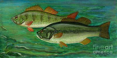 Bass And Perch Print by Anna Folkartanna Maciejewska-Dyba