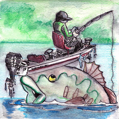 Bass Fishing Drawing - Bass Boat by Ray Hofstedt