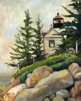 Maine Lighthouses Painting - Bass Harbor Head Lighthouse by Eve  Wheeler
