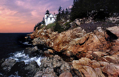 Coastal Maine Photograph - Bass Harbor Head Lighthouse In Maine by Skip Willits