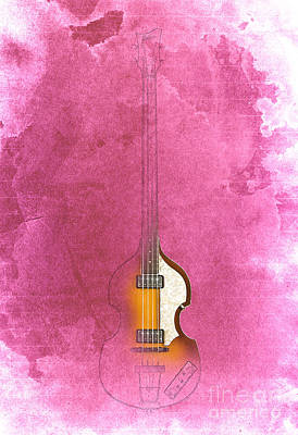 Hofner Drawing - Bass - Red Rojo by Pablo Franchi