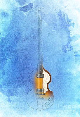 Hofner Painting - Bass Vintage Blue by Pablo Franchi