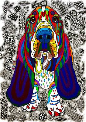 Basset Hound Print by Pet Coloring Pages