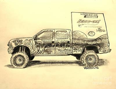 Bass Fishing Drawing - Basszilla Monster Truck - Sepia by Scott D Van Osdol
