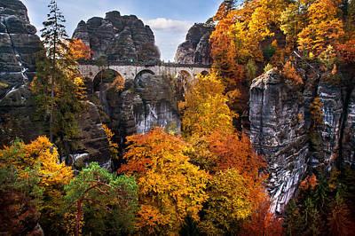 Bastei Bridge In Autumn Time. Saxon Switzerland Print by Jenny Rainbow