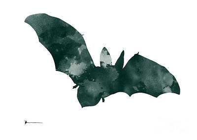 Bat Minimalist Watercolor Painting For Sale Print by Joanna Szmerdt