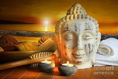 Bath Accessories With Buddha Statue At Sunset Print by Sandra Cunningham