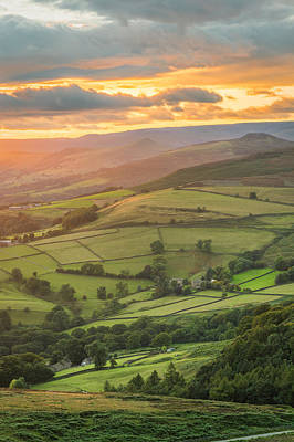 Digital Photograph - Bathed In Gold - Peak District National Park. by Daniel Kay