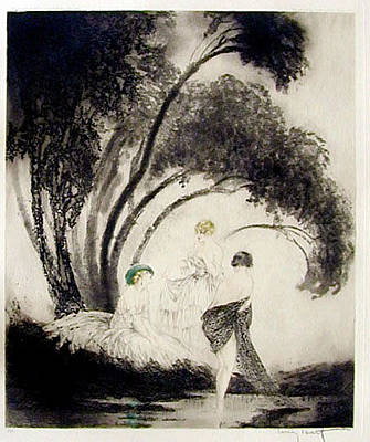 Louis Icart Painting - Bathers by Louis Icart