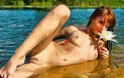 River Painting - Bathgirl by Leonardo Digenio