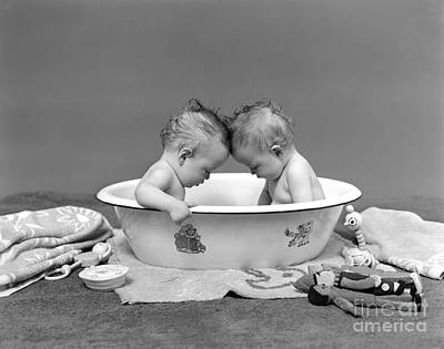 Washtub Photograph - Bathing Babies, 1930s by H. Armstrong Roberts/ClassicStock